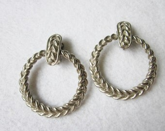 Vintage Round Silvertone Metal Hoop Clip-On Earrings, Braided Hoop Earrings, Matte Steel Gray Earrings