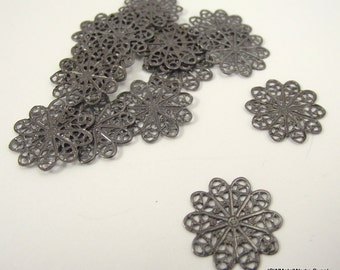 Gunmetal Filigree Flower Rounds, 18 mm Filigree Rounds, Gunmetal Components, 50 Pieces