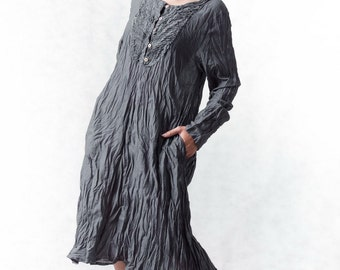 NO.133 Grey Cotton Bib Front Tunic, Long Blouse, Long Sleeves Dress, Dress, Day Dress