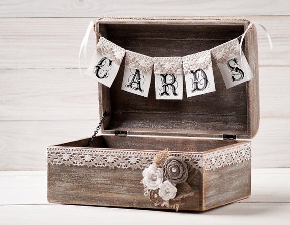 Rustic Wedding Card Box Holder with Burlap and Lace Cards