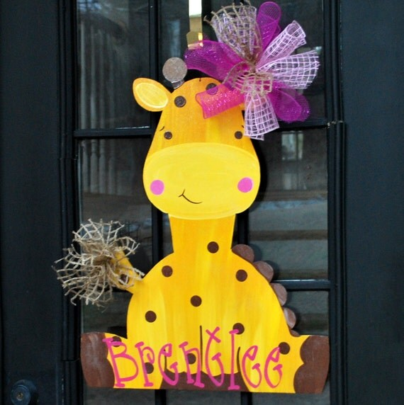 Baby door hanger giraffe door hanger door decoration summer for 3 wreath door decoration