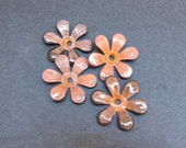 Torch Enamelled Flowers in Peach, 18mm enamelled flowers