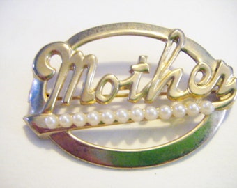 Vintage Gold and Pearl Mother Brooch