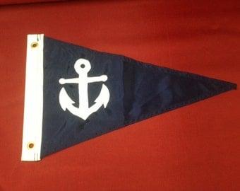 "12"" x 18 "" Anchor Sewn  Boat Pennant / Flag"