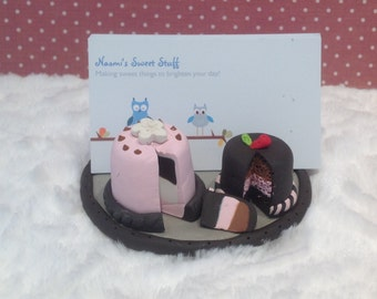 Business card holder,cake business card holder,sweets,chocolate cake,fondant cakes,baker business cards,pastry  card holder