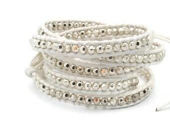 Wrap Bracelet  White leather Silver Beads