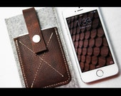 iPhone case - merino wool felt and genuine oiled leather  - made in USA