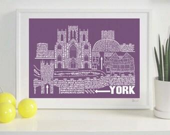 York Skyline Typography Print