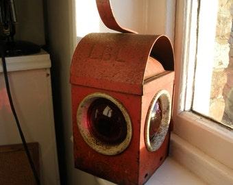 1920s era vintage Red Road or Railway lantern, lighting ,lamp, industrial look,free uk post