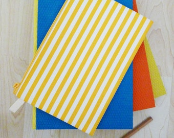 Large STRIPE PVC zipper pencil case, cosmetic bag, snack bag, rectangle shaped, waterproof -  STRIPE