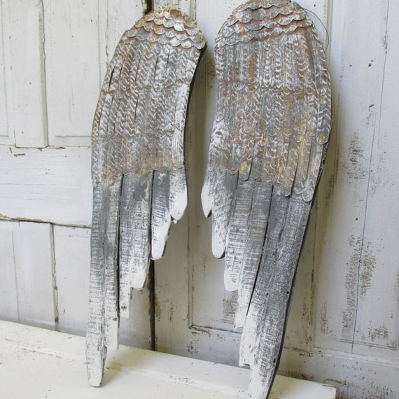gray distressed angel wings wall decor wood carved detailed. Black Bedroom Furniture Sets. Home Design Ideas