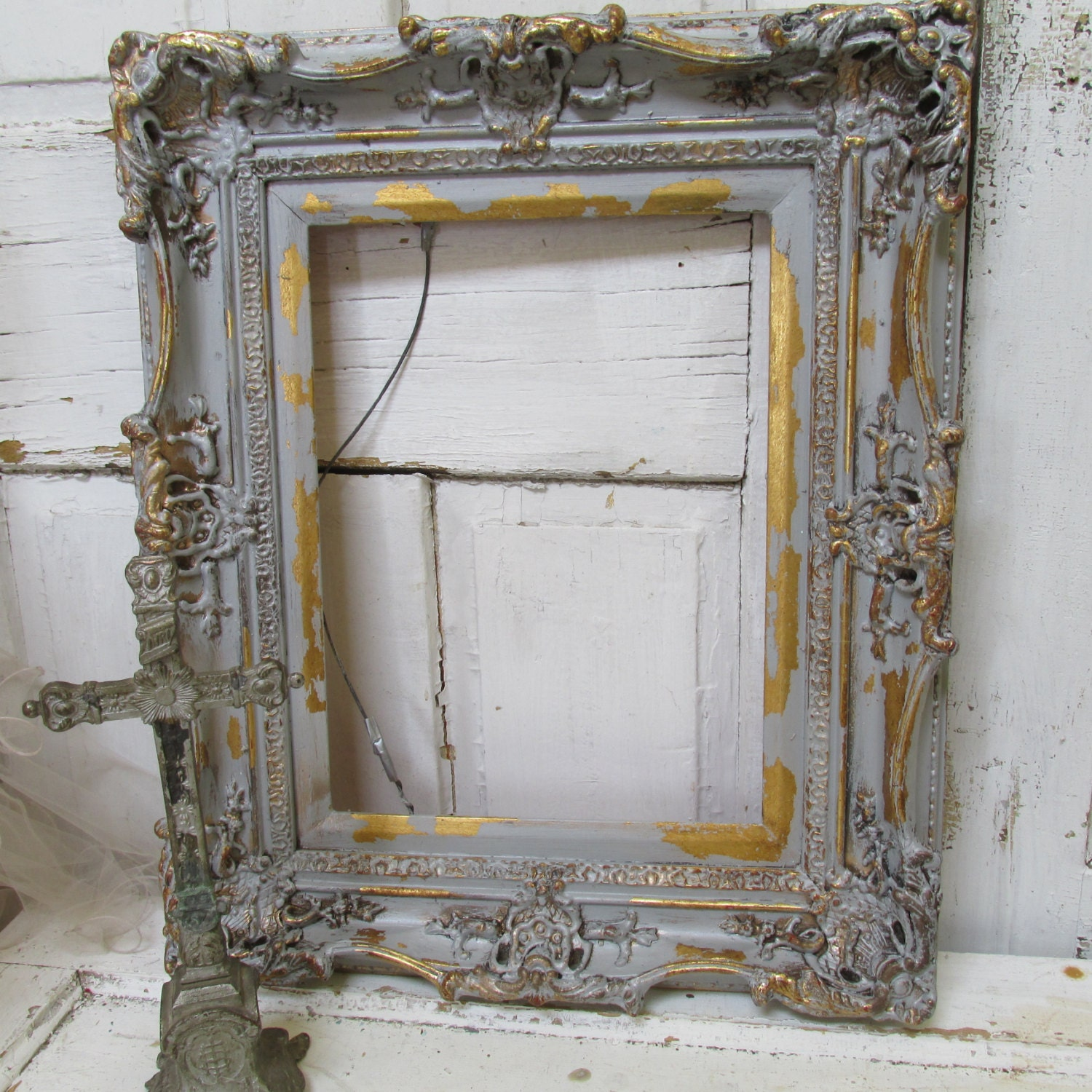 Large Wood Frame Wall Hanging Gray Silver French Nordic