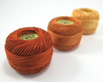 3 Color Finca Perle Cotton Thread Set - Pearl Cotton - Autumn Gold, Copper, Red Copper