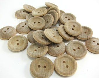 """25 Wood Buttons - 3/4"""" Wood Button - Round Wooden Button"""