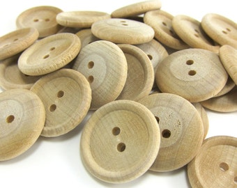 """25 Wood Buttons - 1"""" Wood Button - Round Wooden Button"""
