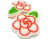 Red and White Rose Hair Clips-NATIVE AMERICAN BEADWORK