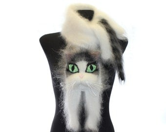 Knitted Scarf, Fuzzy white Soft Scarf, cat scarf,  cat, white cat with black and grey stripes, animal scarf