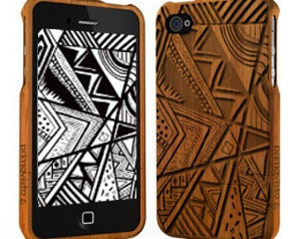 Doodle - Wood iPhone 5 / 5s Case, Bamboo iPhone 5/5s case, iPhone 5 Case
