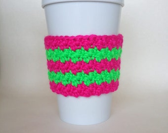 Crochet Neon Pink and Green Striped Coffee Cup Cozy