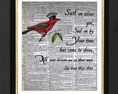 Sail on Silver Girl Quote, Red Cardinal Bird, Bird Print, 8x10 Vintage Dictionary page, Simon and Garfunkel Quote, Dictionary Print