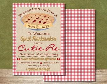 Cutie Pie Baby Shower Invitation--Baby Shower Invite--5x7 Invite--Digital File--Cherry Pie--