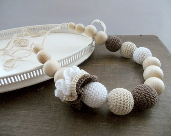 Crochet Nursing Necklace Brown Beige WhiteTeething Necklace Breastfeeding jewelry Shower gift
