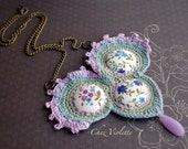 Crochet Necklace Bib necklace statement necklaces Spring Floral Jewelry Fiber necklace for woman Purple Blue Green