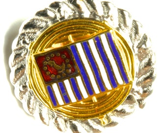 Silver and Gold Nautical Ship's Wheel Flag Lapel Pin - Red White and Blue