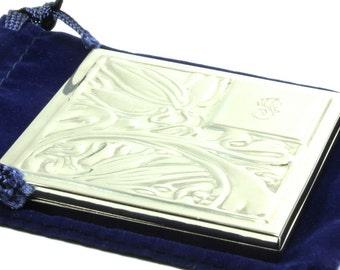 Ornate Raised Embossed Floral Vine Silver Monogrammed Mirror Compact Case - Royal Blue Velvet Pouch