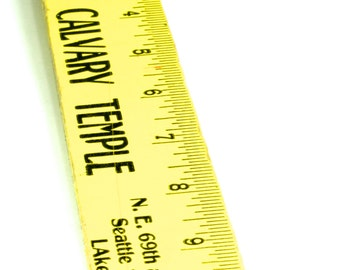 Bright Yellow 12 inch Wooden Ruler Vintage Church Sunday School Ruler - Calvary Temple Church Ruler - The Golden Rule