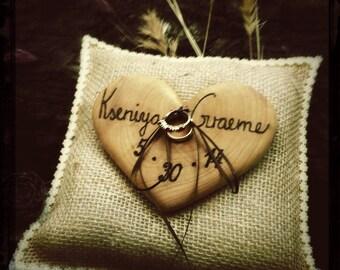 Heart Wedding Ring Bearer Pillow Rustic Engraved Ring Bearer Holder Wooden Heart Burlap Ring Bearer