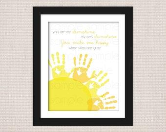 You Are My Sunshine Children's DIY Handprint  Keepsake Art Print Printable PDF