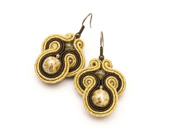 Art Nouveau earrings, dangle gold earrings, retro jewelry, soutache beadwork, beaded embroidery, brown and gold, boho wedding, baroque style