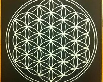 Flower of life ( full ), sacred geometry  - embroidered back patch, BUY3 GET4, 8 X 8 INCH