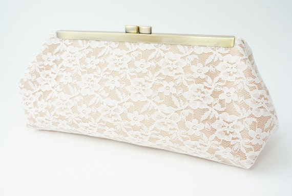 Elegant Ivory & Gold Lace Bridal Clutch Purse - Wedding/Bridesmaid/Evening/Formal Handbag - Includes Crossbody Chain - Made to Order