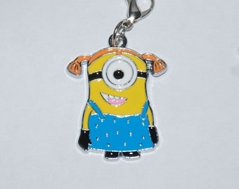 Adorable Despicable Me Girl Minion Enamel Clip Charm, zipper pull, backpack, cell phone, purse clip, bracelet, necklace or scrapbooking.