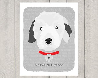 Old English Sheepdog - Dog Nursery Art Print - Custom