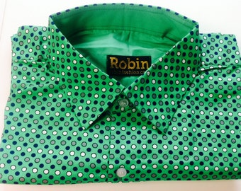 men's shirt green with dark blue, grey and white polka dots 100%  soft cotton long sleeves