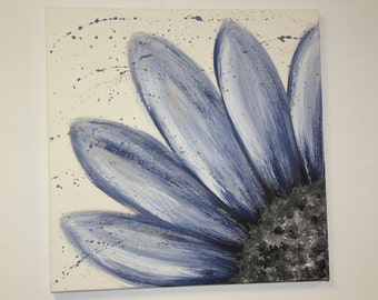 Blue flower painting using acrylics and gesso on canvas