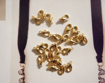24 Goldplated Lobster Claw Clasps