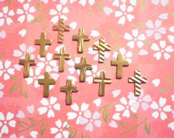 24 Vintage Brass 10mm Assorted Crosses