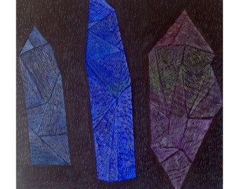 "Original 3D painting, acrylic on canvas, ""Magical Stones"", by Paulina Varregn"