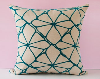 Turquoise pillow cover, decorative throw pillow, cushion cover, accent pillow, pillowcase, teal cushion cover, modern pillow - 18x18 inches