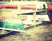 All Tied Up - Boat nautical photography print home decor nursery wall art kayak water sea colorful red green docked ocean bay inlet raft