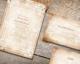 Vintage Art nouveau wedding invitations - Print it yourself files