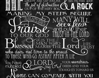 Scripture Chalkboard Art - Psalm 40:1-5