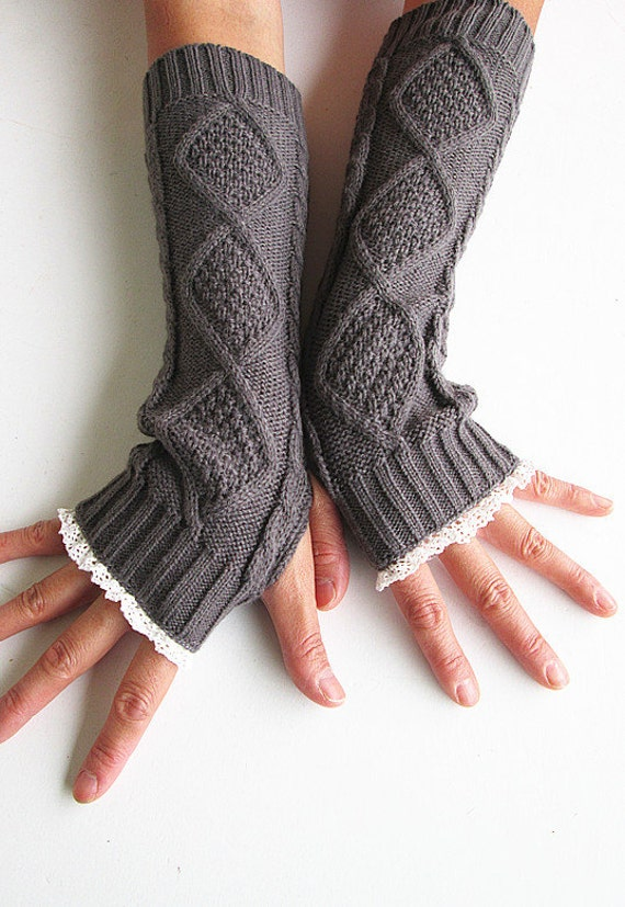 Dark Grey Knit Arm Warmers- Fingerless Gloves-Knit Gloves-Lace gloves