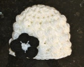 CLEARANCE - Baby Preemie Black and White Flower Hat - Newborn Girl - Ready to Ship