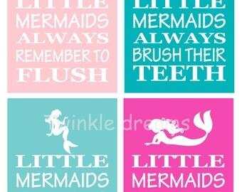 Mermaid art, bathroom print, mermaid print, mermaid wall art, little kid art print manners print educational print little girl
