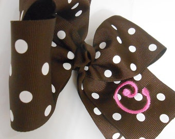 "Large Brown and White Polka Dot Monogrammed ""C"" Embroidered Boutique Hair Bow"